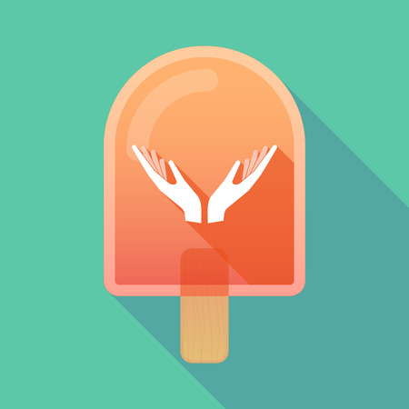 ice cream stand: Illustration of long shadow ice cream icon with  two hands offering Illustration