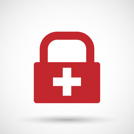 swiss insignia: Illustration of an isolated lock pad icon with   the Swiss flag