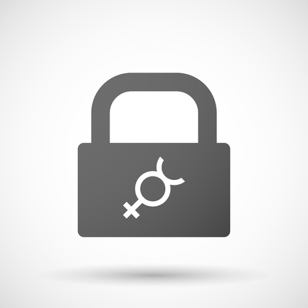 mercury: Illustration of an isolated lock pad icon with  the mercury planet symbol