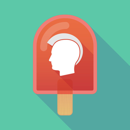 punk hair: Illustration of long shadow ice cream icon with  a male punk head silhouette Illustration