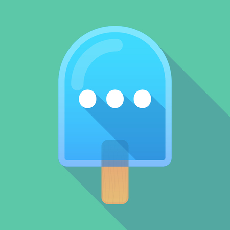 orthographic: Illustration of long shadow ice cream icon with  an ellipsis orthographic sign
