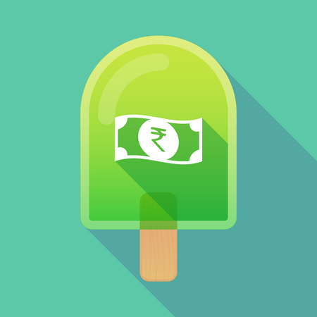 bank note: Illustration of long shadow ice cream icon with  a rupee bank note icon Illustration