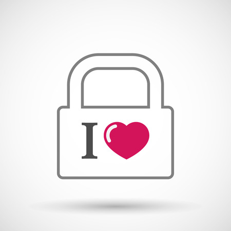 Illustration of an isolated lock pad icon with  an  I like glyph