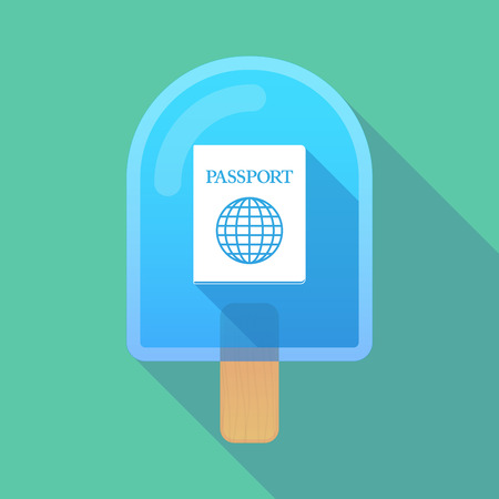 emigration: Illustration of long shadow ice cream icon with  a passport