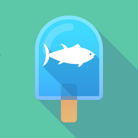 frozen fish: Illustration of long shadow ice cream icon with  a tuna fish Illustration