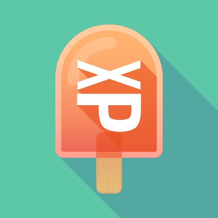 sticking: Illustration of long shadow ice cream icon with  a Tongue sticking text face emoticon