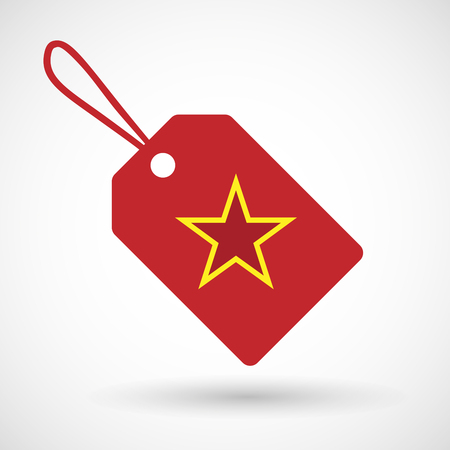 communism: Illustration of a shopping label icon with  the red star of communism icon