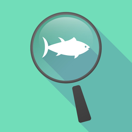 food science: Illustration of a long shadow magnifier vector icon with  a tuna fish