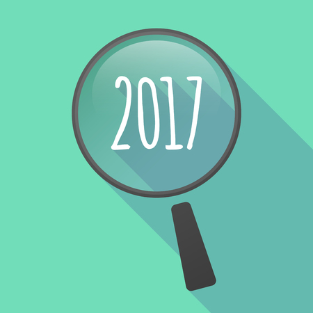 number icon: Illustration of a long shadow magnifier vector icon with  a 2017 year  number icon