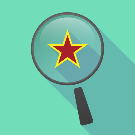 communism: Illustration of a long shadow magnifier vector icon with  the red star of communism icon