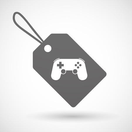 game pad: Illustration of a shopping label icon with  a game pad