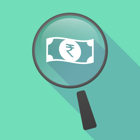 bank note: Illustration of a long shadow magnifier vector icon with  a rupee bank note icon