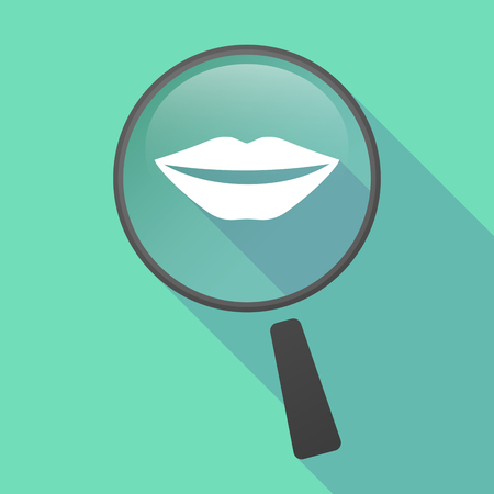 long mouth: Illustration of a long shadow magnifier vector icon with  a female mouth smiling