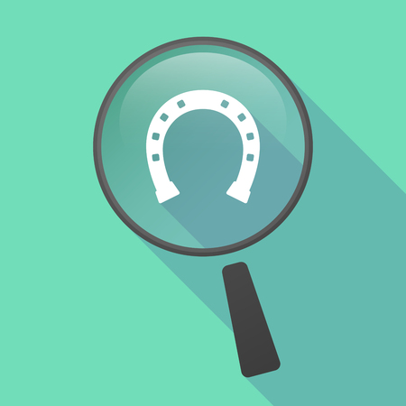 bridle: Illustration of a long shadow magnifier vector icon with  a horseshoe sign Illustration