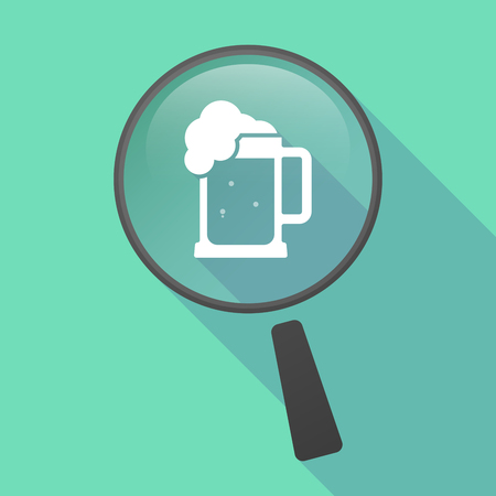 beer jar: Illustration of a long shadow magnifier vector icon with  a beer jar icon