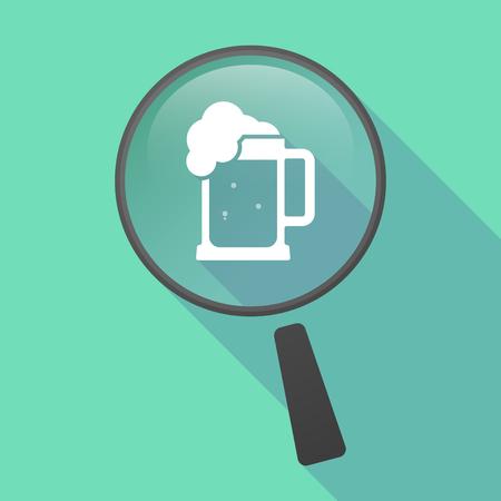tarro cerveza: Ilustración de un icono de la lupa del vector larga sombra con un icono de jarra de cerveza Vectores