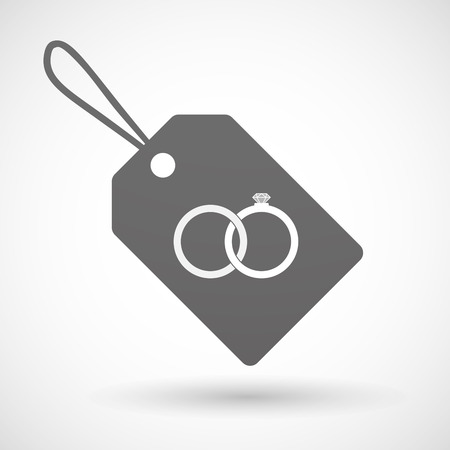 bonded: Illustration of a shopping label icon with  two bonded wedding rings