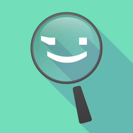 wink: Illustration of a long shadow magnifier vector icon with  a wink text face emoticon