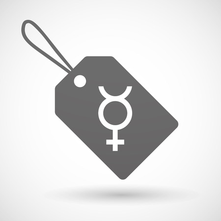 hermaphrodite: Illustration of a shopping label icon with  the mercury planet symbol Illustration