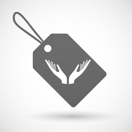 offering: Illustration of a shopping label icon with  two hands offering
