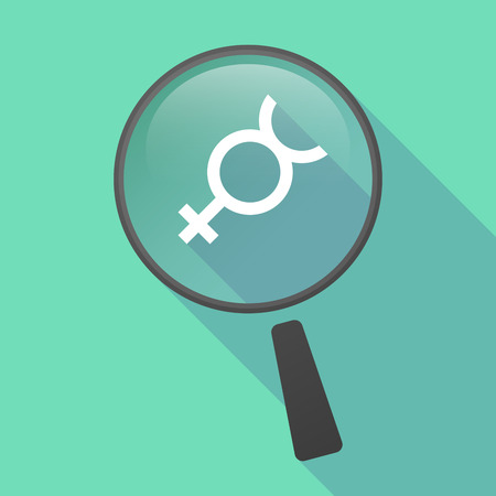 hermaphrodite: Illustration of a long shadow magnifier vector icon with  the mercury planet symbol Illustration