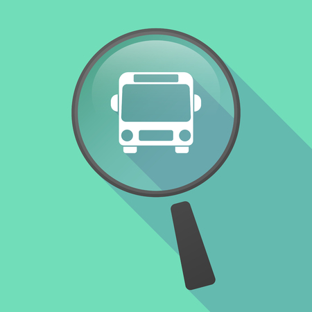 public services: Illustration of a long shadow magnifier vector icon with  a bus icon Illustration