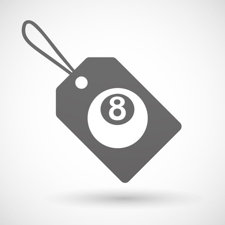 pool ball: Illustration of a shopping label icon with  a pool ball
