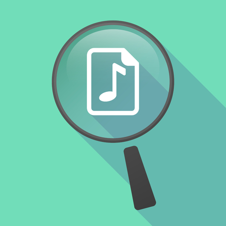 music score: Illustration of a long shadow magnifier vector icon with  a music score icon