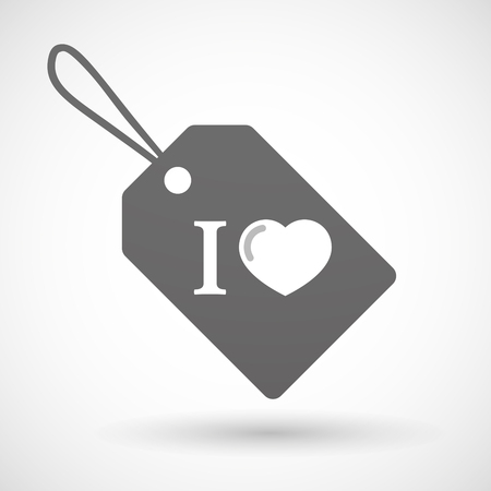 glyph: Illustration of a shopping label icon with  an  I like glyph