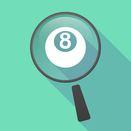 bola de billar: Ilustraci�n de un icono de la lupa del vector larga sombra con una bola de billar