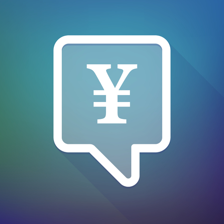 yen sign: Illustration of a long shadow tooltip icon on a gradient background  with a yen sign Illustration