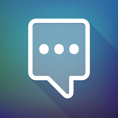 ellipsis: Illustration of a long shadow tooltip icon on a gradient background  with  an ellipsis orthographic sign
