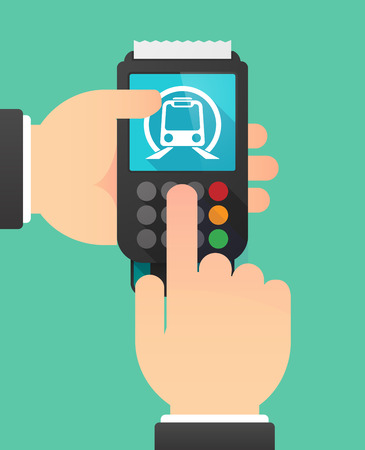 subway train: Illustration of a person hands using a dataphone with  a subway train icon