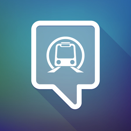 tooltip: Illustration of a long shadow tooltip icon on a gradient background  with  a subway train icon