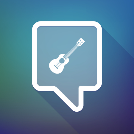 ukulele: Illustration of a long shadow tooltip icon on a gradient background  with  an ukulele