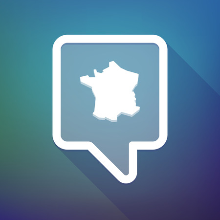 search box: Illustration of a long shadow tooltip icon on a gradient background  with  the map of France