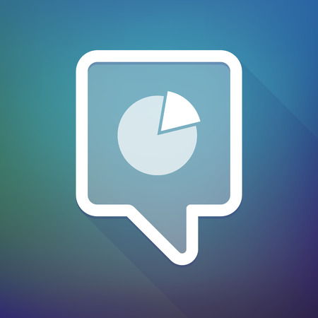 tooltip: Illustration of a long shadow tooltip icon on a gradient background  with a pie chart