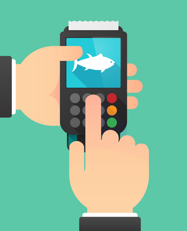 finger fish: Illustration of a person hands using a dataphone with  a tuna fish