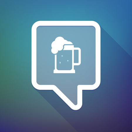 beer jar: Illustration of a long shadow tooltip icon on a gradient background  with  a beer jar icon