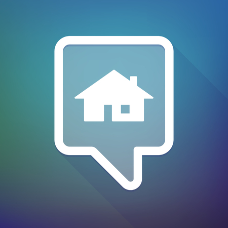 tooltip: Illustration of a long shadow tooltip icon on a gradient background  with a house