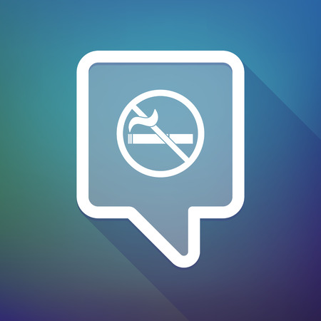 abstain: Illustration of a long shadow tooltip icon on a gradient background  with  a no smoking sign