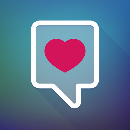 tooltip: Illustration of a long shadow tooltip icon on a gradient background  with a heart