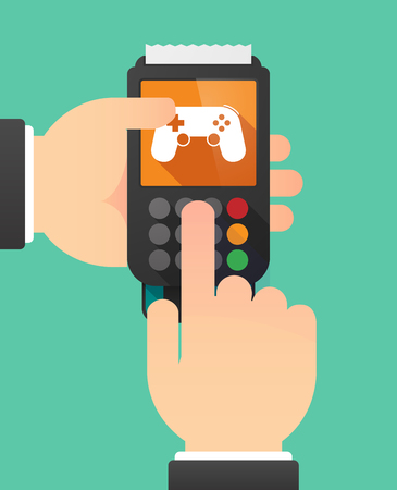 game pad: Illustration of a person hands using a dataphone with  a game pad