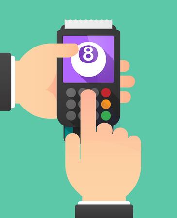 bola de billar: Ilustraci�n de manos de una persona usando un dat�fono con una bola de billar