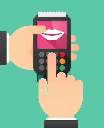 using mouth: Illustration of a person hands using a dataphone with  a female mouth smiling Illustration