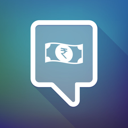 bank note: Illustration of a long shadow tooltip icon on a gradient background  with  a rupee bank note icon