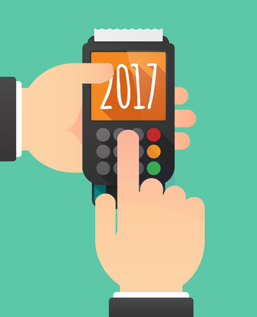 pay money: Illustration of a person hands using a dataphone with  a 2017 year  number icon