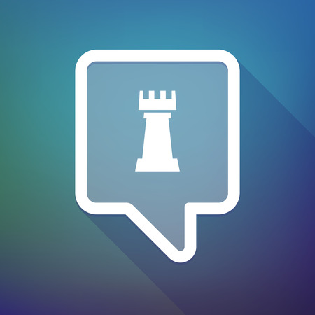 tooltip: Illustration of a long shadow tooltip icon on a gradient background  with a  rook   chess figure Illustration