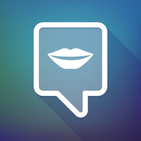 long mouth: Illustration of a long shadow tooltip icon on a gradient background  with  a female mouth smiling