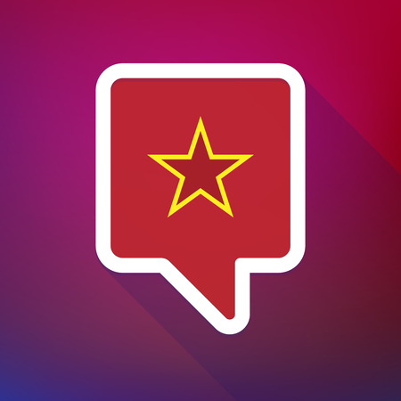 communism: Illustration of a long shadow tooltip icon on a gradient background  with  the red star of communism icon